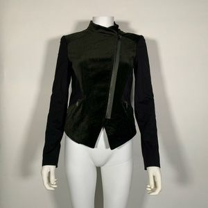Elie Tahari Jacket Cotton Black Dark Green Sz XS